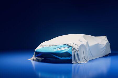 Moderne sportwagenpresentatie met witte doek erover. Ontwerp en tentoonstellingsconcept. 3D-rendering Stockfoto