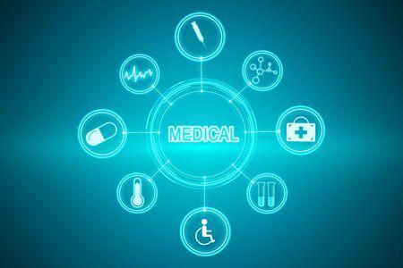 Creative medical hud on dark blue background. Medicine and innovation concept. 3D Rendering 写真素材