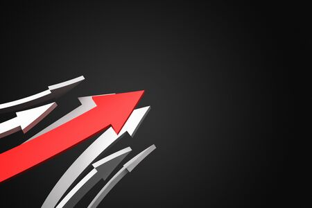 Abstract red arrows on black background. Growth and leadership concept. 3D Rendering