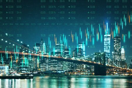 Abstract night New York city wallpaper with forex chart. Trade and currency exchange concept. Double exposure Zdjęcie Seryjne