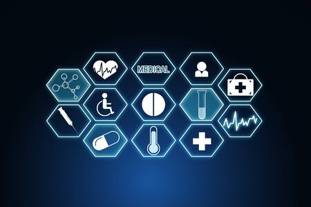 Creative medical interface on dark blue background. Medicine and innovation concept. 3D Rendering