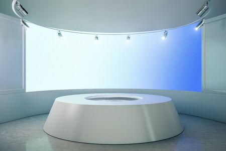 Abstract futuristic gallery interior with empty poster and podium. Mock up, 3D Rendering 版權商用圖片