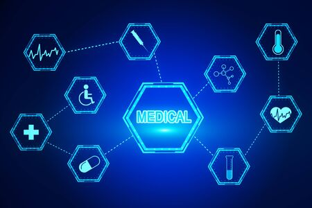 Creative medical screen on dark blue background. Medicine and innovation concept. 3D Rendering