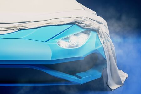 Cool sports car presentation with white cloth over. Design and exhibit concept. 3D Rendering