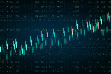 Creative dark forex chart backdrop with candlestick graph. Trade and finance concept. 3D Rendering