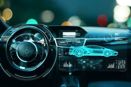 Bokeh 배경에 추상 디지털 홀로그램이 있는 자동차. 자동화 및 운송 개념입니다. 이중 노출