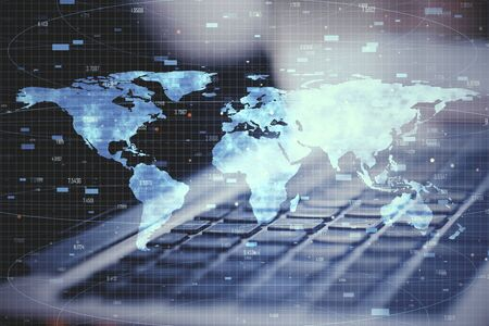 Close up of laptop with digital map. Global business and interactive concept. Double exposure Stock Photo