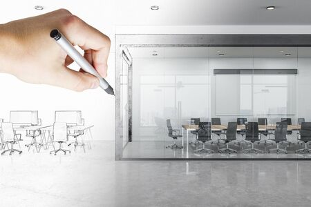 Modern hand drawn office interior with city view and daylight. Workplace design and blueprint concept. Banque d'images