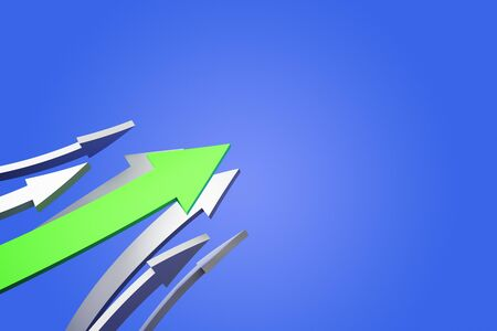 Creative arrows on blue background. Teamwork and growth concept. 3D Rendering Stock fotó