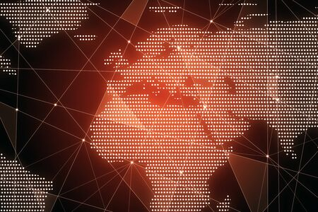 Creative glowing polygonal map on red background. AI and global data concept. 3D Rendering