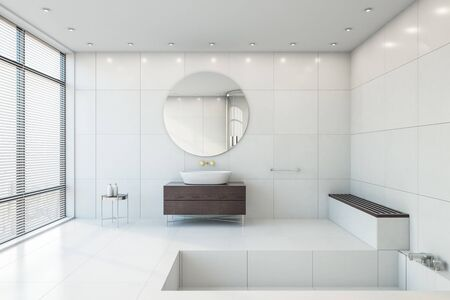 Modern bathroom interior with appliances, city view and daylight in 3D rendering