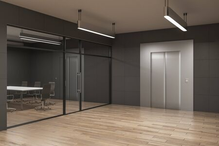 Contemporary office interior with elevator, glass, furniture, cand daylight. Startup and entrepreneurship concept. 3D Rendering