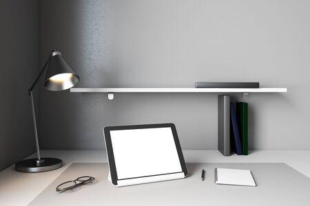 Contemporary designer desktop with empty tablet screen. Mock up, 3D Rendering
