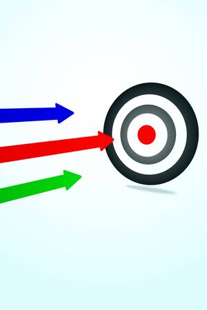 Creative background with bulls eye and colorful arrows.