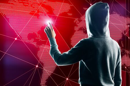 Hacker hand using creative glowing polygonal map on red background. Hacking and global data concept