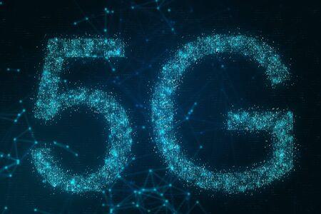 Creative glowing polygonal 5G internet background in 3D rendering.