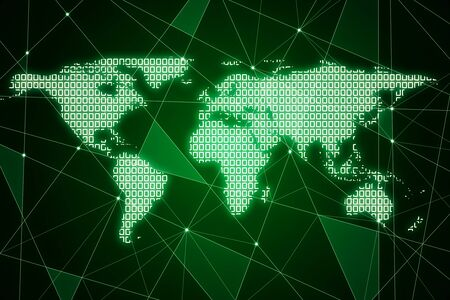 Creative glowing polygonal map on green background. AI and global data concept. 3D Rendering