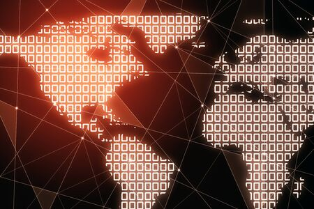 Creative glowing polygonal map on red background. Internet and global data concept. 3D Rendering  Stock Photo