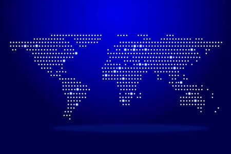 Creative glowing polygonal map on blue background. Connections and global data concept. 3D Rendering
