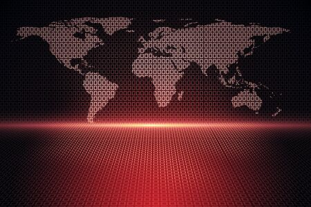 Creative glowing polygonal map on red background. Interactive and global data concept. 3D Rendering