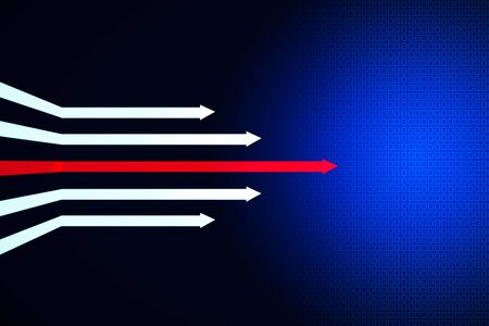 Digital arrows on dark blue background. Development and growth concept. 3D Rendering