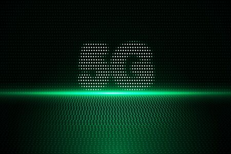Creative green 5G internet background. Web speed and innovation concept. 3D Rendering