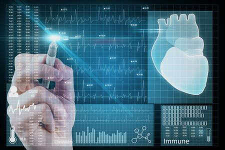 Hand using abstract medical cardiology interface on dark blurry background. Medicine and science concept. Multiexposure