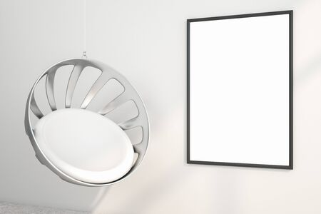 Minimalist interior with hanging chair and empty billboard frame on white concrete wall. Gallery concept. Mock up, 3D Rendering