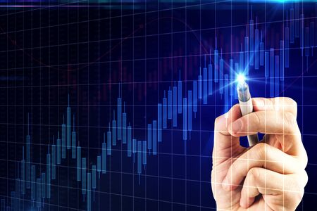 Hand drawing glowing blue forex chart on dark background. Trade and analysis concept. Multiexposure  Banco de Imagens