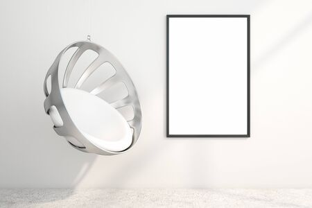 Minimalist interior with hanging chair and empty poster on white concrete wall. Gallery concept. Mock up, 3D Rendering Reklamní fotografie