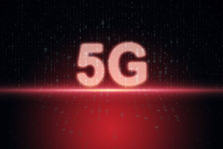 Creative red 5G internet background. Web speed and innovation concept. 3D Rendering Banco de Imagens