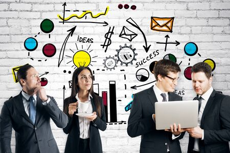 Partnership and teamwork concept. Attractive european businesspeople using laptop together on creative colorful business sketch wall background