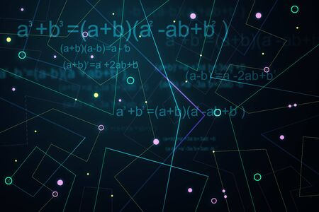 Creative glowing blue geometric background with mathematical formulas. 3D Rendering  Stock Photo