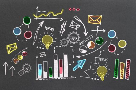Success and marketing concept. Creative colorful business sketch on chalkboard background. 3D Rendering