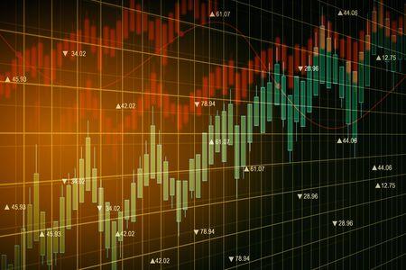Gráfico de forex naranja brillante sobre fondo oscuro. Concepto de comercio y análisis. Representación 3D Foto de archivo