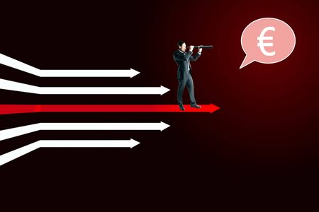 Businessman with telescope and euro sign standing on digital white arrows on dark red background. Money, vision and growth concept.