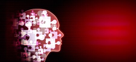 Abstract glowing jigsaw head on red background. Teamwork and ai concept. 3D Rendering