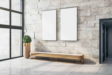 Modern gallery interior with empty billboard on stone tile wall, decorative plant, bench, shadows, sunlight and city view. Mock up, 3D Rendering
