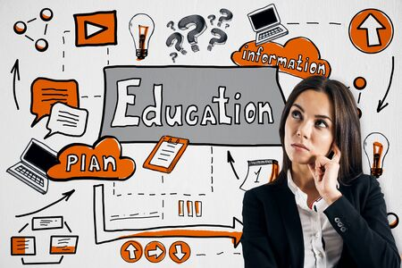 Attractive thoughtful european businesswoman standing with creative educational sketch on white background with supplies. Education and knowledge concept