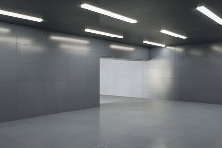 Contemporary grey concrete interior with lamps on ceiling, reflections and copy space. 3D Rendering Foto de archivo