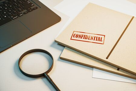 Top view of white desktop with laptop, magnifier and secret files. Confidential information and detective concept. 3D Rendering Stock fotó - 133391107