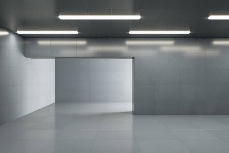 Simple grey concrete interior with lamps on ceiling, reflections and copy space. 3D Rendering