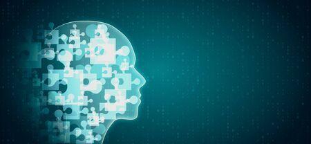 Abstrakter leuchtender Puzzlekopf auf blauem Hintergrund. Teamwork und AI-Konzept. 3D-Rendering