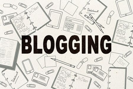 Creative blogging sketch on white wall background. Blog and media concept. 3D Rendering
