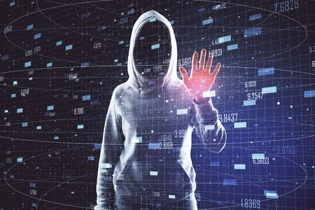 Hacker with abstract digital big data interface. Criminal and AI concept. Double exposure