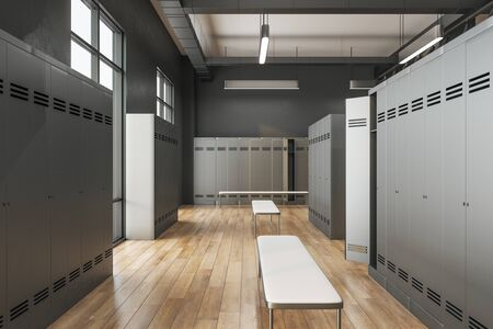 Modern locker room interior with window and daylight. School and sports concept. 3D Rendering