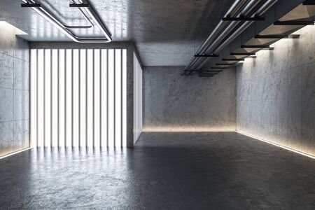 Modern concrete gallery interior with lights and abstract installation. Mock up, 3D Rendering Zdjęcie Seryjne