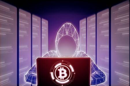Abstract digital hacker using laptop on glowing big data background with server room and bitcoin. Hacking, cryptocurrency and database concept. 3D Rendering