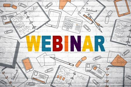 Creative colorful webinar sketch on white brick wall background. Web and seminar concept