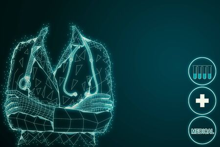 Abstract glowing medical hologram with polygonal doctor. Medicine and hud concept. 3D Rendering